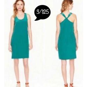 J. Crew Sz 10P Green Silk Tall Twist Back Dress